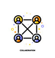 team collaboration icon for corporate management vector image