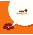 Thanksgiving turkey speech bubble background vector image vector image