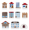 various variants of houses and buildings vector image vector image