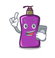 with phone shampo character cartoon style vector image