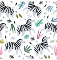 zebra flat hand drawn color seamless pattern vector image vector image