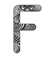 Zentangle stylized alphabet Lace letter F in vector image vector image