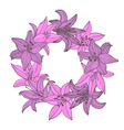colored lily hand-drawn garland vector image