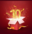 10 th years number anniversary and open gift box vector image