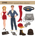 1990 fashion style man and woman personal objects vector image vector image