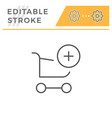add to cart editable stroke line icon vector image vector image
