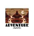 adventure awaits hand drawn landscape desert vector image vector image