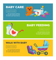 baby care and newborn child motherhood web banners vector image vector image