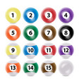 billiard ball set realistic commonly used vector image vector image