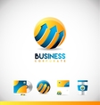 Blue orange sphere arrow 3d logo icon design vector image vector image
