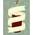 bottle wine with banner vector image vector image