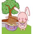 bunny and food kawaii vector image