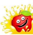 Cartoon character fresh apple juice on vector image
