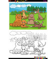 cartoon dogs and puppies group coloring book page vector image vector image
