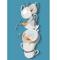 Coffee cups and Tea set eps10 vector image vector image