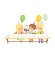 cute boys and girls celebrating birthday party vector image vector image