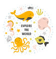 cute card with sea animals on white explore vector image