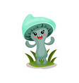 cute funny mushroom character with human face and vector image vector image