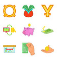 economy icons set cartoon style vector image vector image