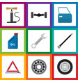 flat auto set of wheel pump warning pipeline and vector image vector image