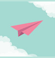 flying origami paper plane cloud in corners frame vector image vector image