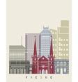 Fresno skyline poster vector image vector image