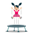 girl jumps on a trampoline vector image