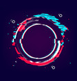 Glitch circle banner distorted round shape with