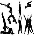 gymnasts acrobats black silhouette vector image vector image