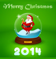 Hake with Santa Claus inside the ball vector image vector image