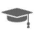 hexagon halftone graduation cap icon vector image vector image