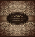 invitation card in brown with gold ribbon vector image