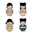 japanese girls icon vector image vector image