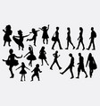 kid or children happy action silhouette vector image