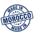 made in morocco blue grunge round stamp vector image vector image