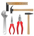 metal and wooden tools for repairment and building vector image vector image
