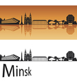 Minsk skyline in orange background vector image vector image