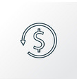money back icon line symbol premium quality vector image vector image
