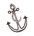 nautical ship anchor isolated coloring book vector image