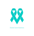 Ovarian cancer Heart symbol teal ribbon flat shape vector image vector image
