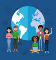 people around the world on social media vector image vector image