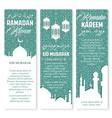 ramadan lantern muslim mosque greeting banner set vector image