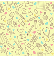 Seamless doodle medical pattern with colored vector image