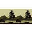 Seamless Landscape Trees and River vector image