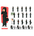 set of businesswoman with veil cartoon character vector image