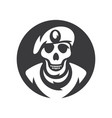 skull soldier silhouette sign vector image vector image