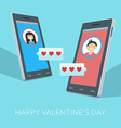 Smartphones with love sms boy and girl icons on vector image
