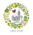 SpringLondon landmarkGreen leaves wreathBig vector image