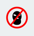 stop terrorism with sign balaclava mask icon vector image vector image
