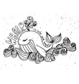 whale cute cartoon isolated animals vector image